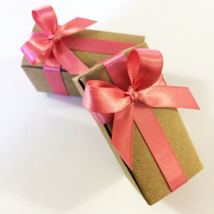 Craft Boxes & Pink Coral Ribbon - caramel wedding favors with 2 pieces per box