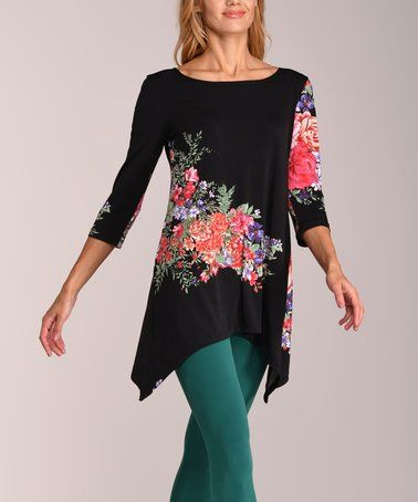 Look at this #zulilyfind! Black & Pink Floral Sidetail Tunic - Plus Too #zulilyfinds