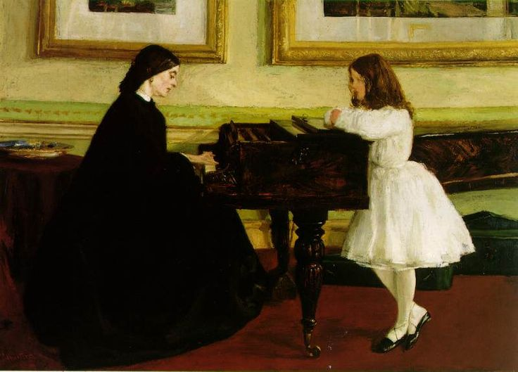 """At The Piano"""", 1858-59  James McNeill Whistler"""