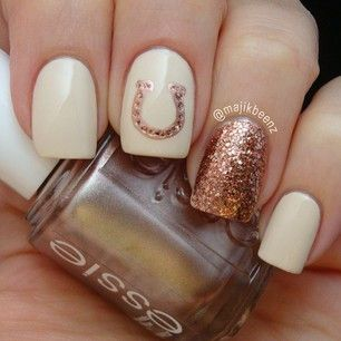 Best 25 shoe nails ideas on pinterest converse nails sneaker horse shoe nail design with sparkly gold and cream coloured polish prinsesfo Images