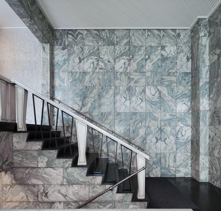 via Montebello 27 Architect: A. Ronca, 1961-65 Stairs: Black Serpentino Labrador Walls: Cipollino Verde marble