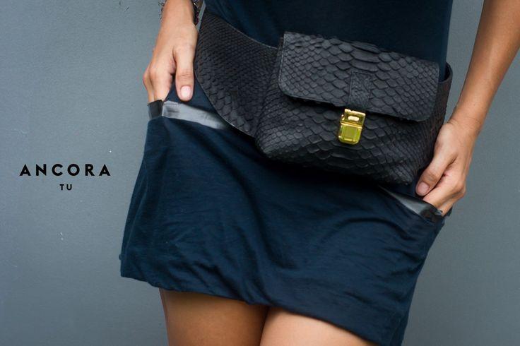 Leather Fanny Pack. Leather hip bag. Black Leather Fanny Pack. Python Leather Belt Bag. by StudioANTU on Etsy
