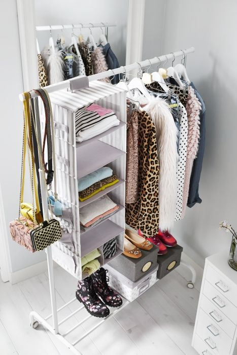 Folded shirts and sweaters take up space and can be hard to access in dresser drawers. For extra, easy-access storage for folded clothes, hang storage pockets, like SVIRA, from a clothing rack or closet pole.