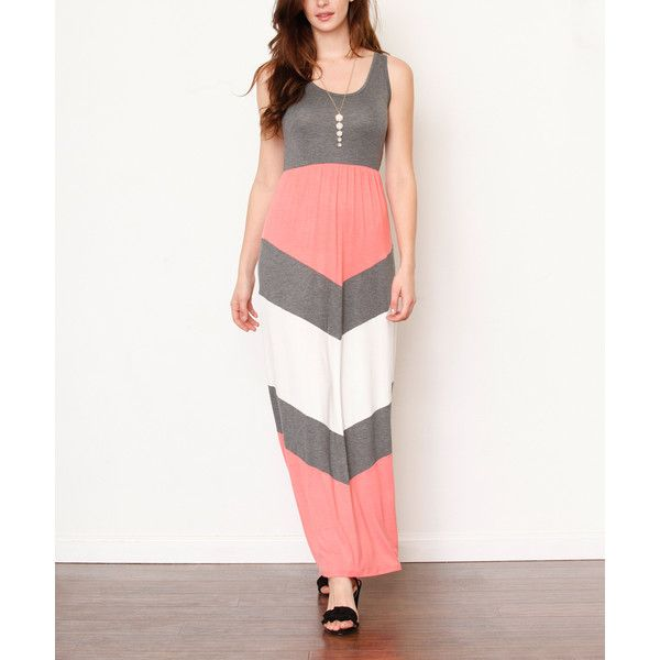éloges Charcoal & Coral Chevron Maxi Dress ($45) ❤ liked on Polyvore featuring dresses, coral long dress, charcoal grey maxi dress, chevron print maxi dress, charcoal grey dress and long dresses