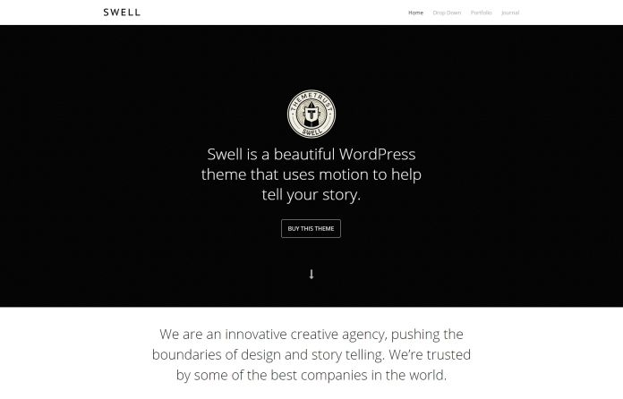 Swell - beautiful #WordPress #theme that uses motion to help tell your story. It features a #versatile home page template with two areas to insert big and beautiful #video backgrounds.