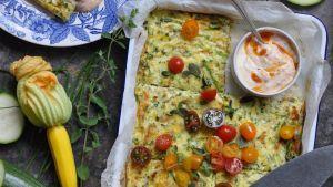 Recipe: Courgette frittata with harissa yogurt ( zucchini )