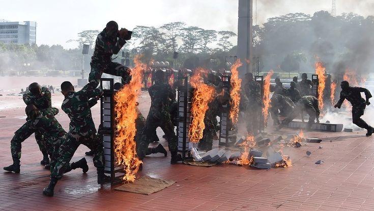Cobras asesinadas a mordiscos, muros de ladrillos en llamas rotos de un cabezazo, perros policías que bajan de helicópteros... Yakarta y una espectacular y bizarra demostración de las unidades de élite del ejército indonesio. VER MAS
