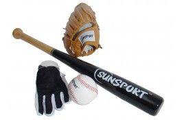 Set Baseball batte en bois + balle + 2 gants T11 - Pokeo.fr - Set de baseball composé d'une batte en bois, d'une balle de baseball traditionnelle, d'une paire de gants T11.