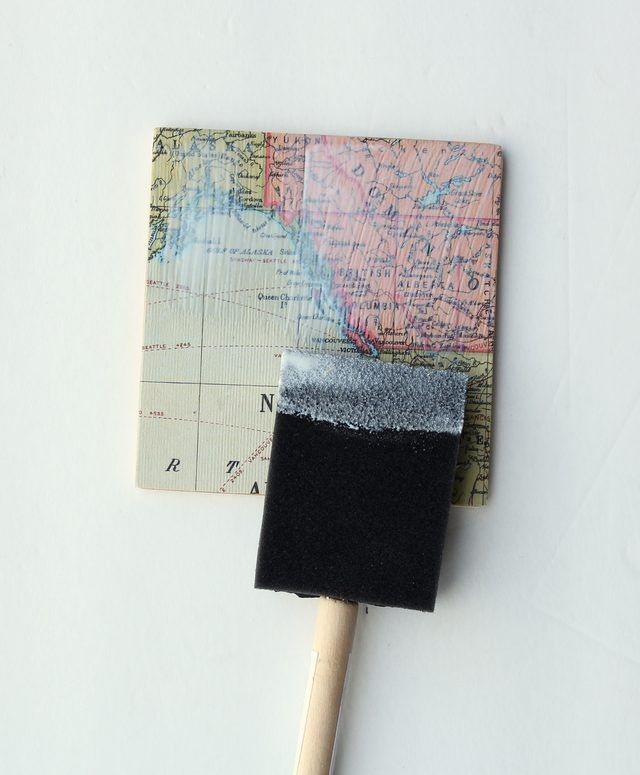 use vintage maps to make these super cool coasters