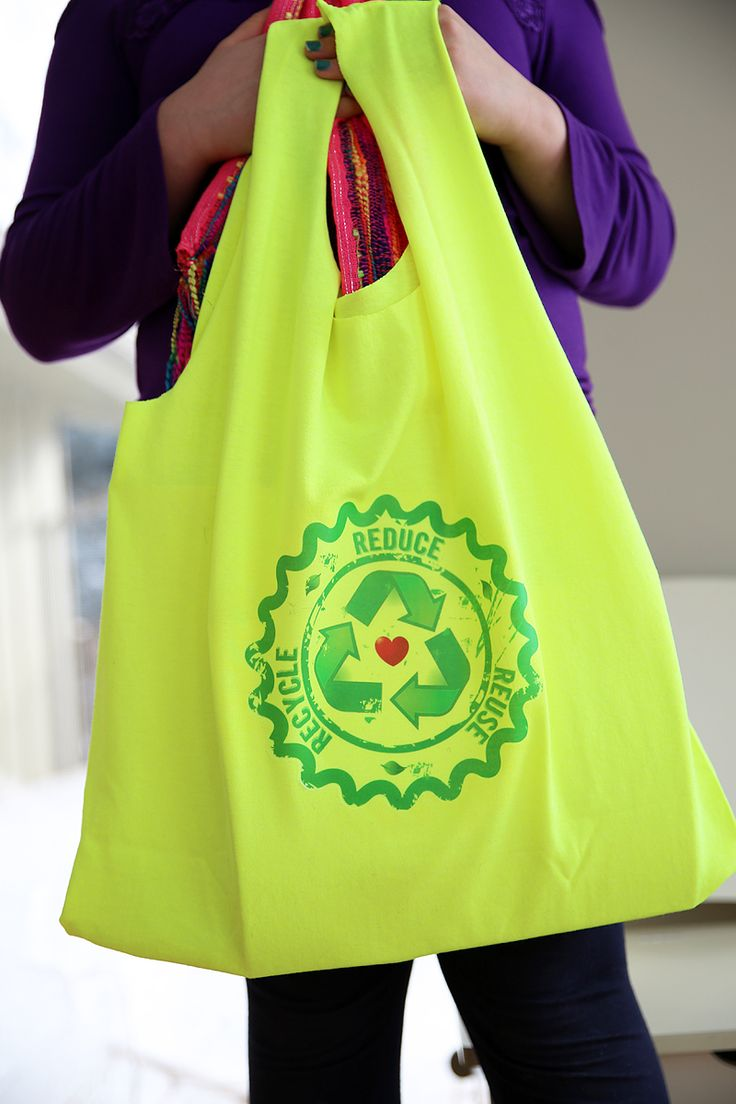Hate plastic grocery sacks learn how to create a recycled for Plastic bags for t shirts