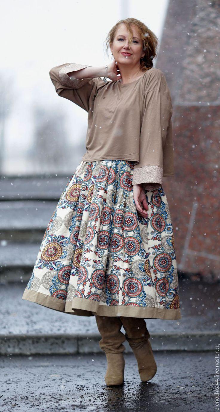 """Купить Костюм """"Оклахома"""" - лимонный, орнамент, юбка лен, льняная юбка, льняная одежда"""