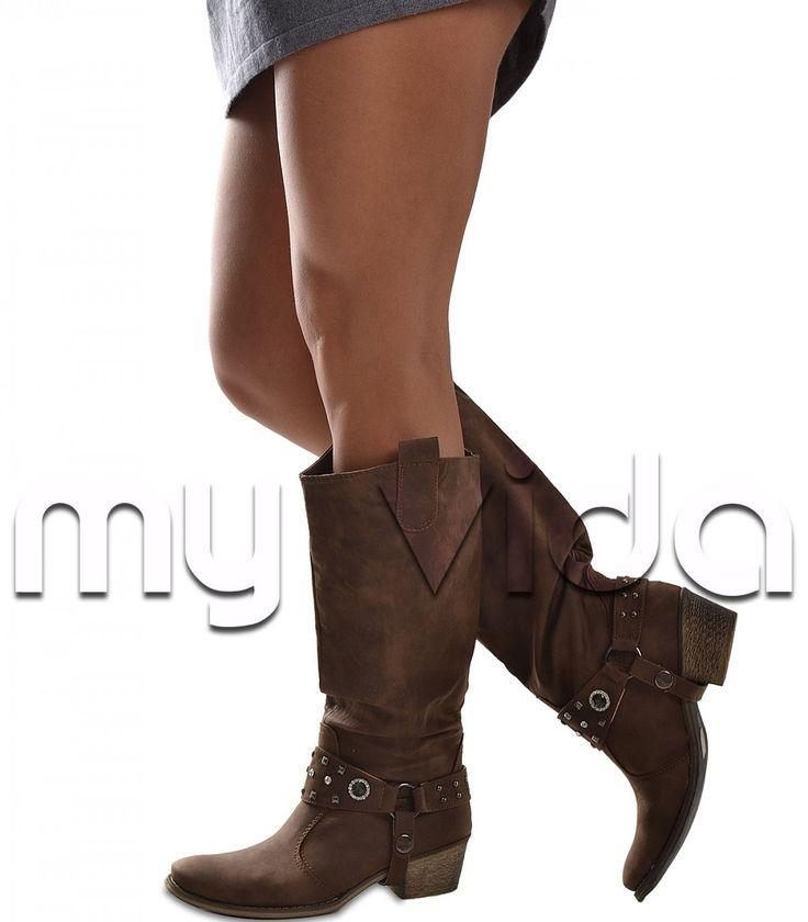 #Stivale donna texano con cavigliera borchie strass   My Vida #scarpe #shoes #stivali #stivaletti #boots #ankleboots #boot #texani #anfibi #biker
