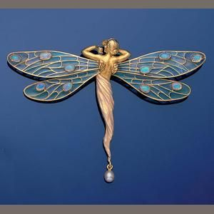 A gold, plique-à-jour enamel, opal and pearl dragonfly brooch/pendant, by Masriera y Carrera,