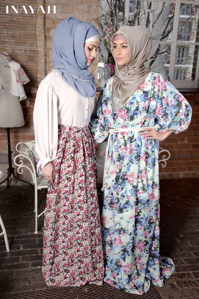 Inayah English Vintage Collection- Denim Pearl Hijab, Off-White Batwing Blouse, Floral Pleated Skirt, Gold Silk Hijab, and Violet Floral Kaftan #hijabfashion
