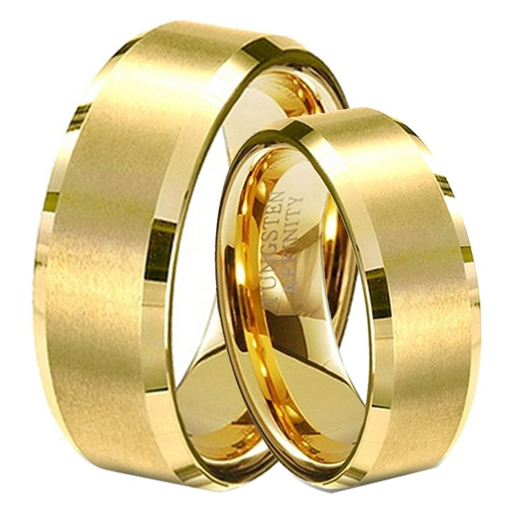 1 Pair Gold Plated Lovers Wedding Bands His and Hers Promised Tungsten Rings Set Hot Sale in Brasil Alliance Size 4-14 TU051RC
