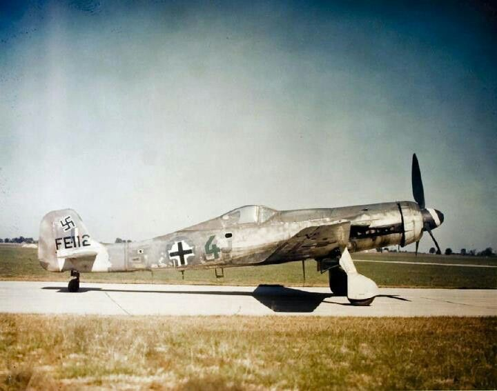 "TA-152H. The last derivative of the FW-190. Only around 60 TA-152s were built, including prototypes. This one is shown in the U.S., after the war. The letters FE- on the tail mean ""Foreign Evaluation""."
