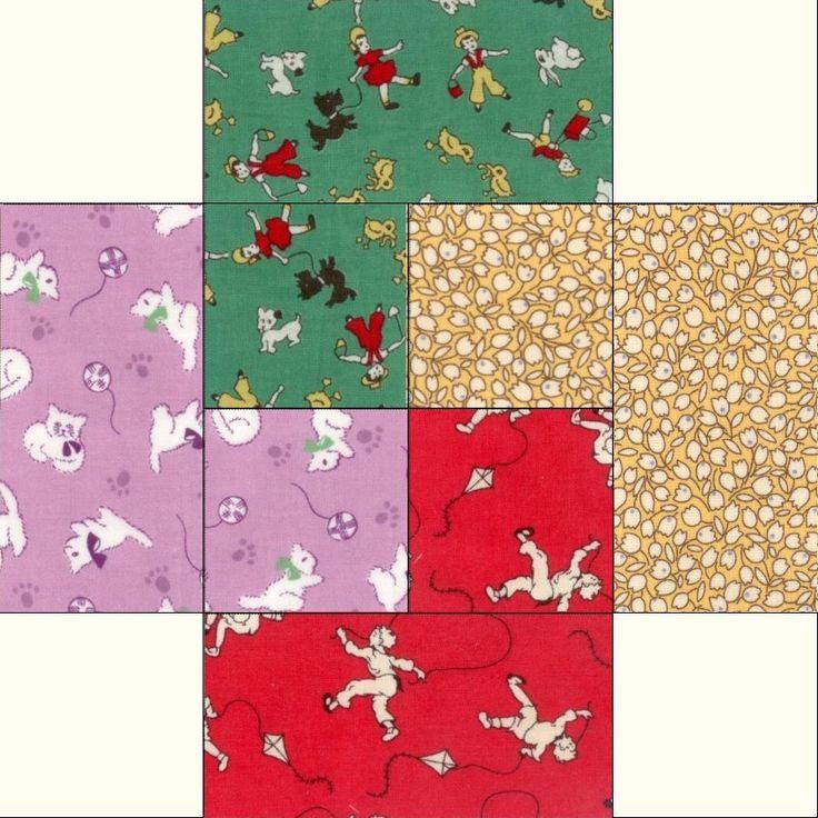 """Aunt Grace Reproduction Cards 12 Pre-Cut Quilt Kit 8"""" Blocks"""