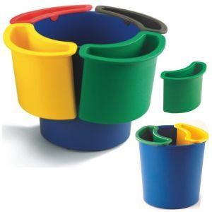 Papelera para reciclar Faibo. Con 5 compartimentos separados.  Para recogida selectiva y separada de los residuos de Papel (azul), Pilas (rojo ), vidrio (verde) , organico (marrón), Plástico y metal (amarillo). http://www.selfpaper.com/html/papelera-para-reciclar-con-4-departamentos-g.html