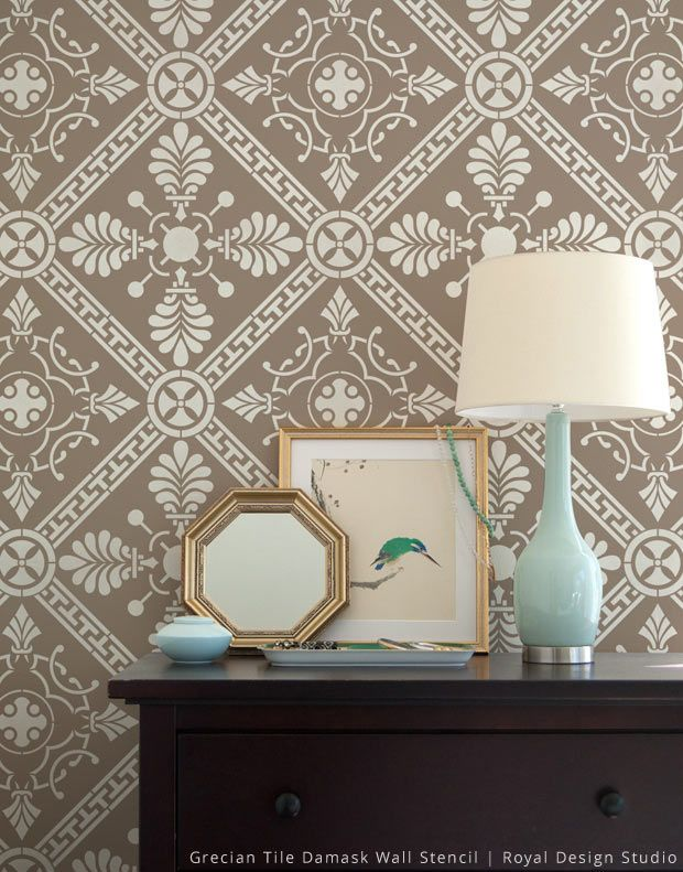 The Grecian Tile Damask Wall Stencil has