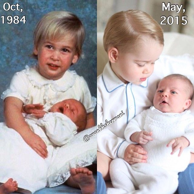 #new 1984: Prince William with his brother Prince Harry . 2015: Prince George with his sister Princess Charlotte .