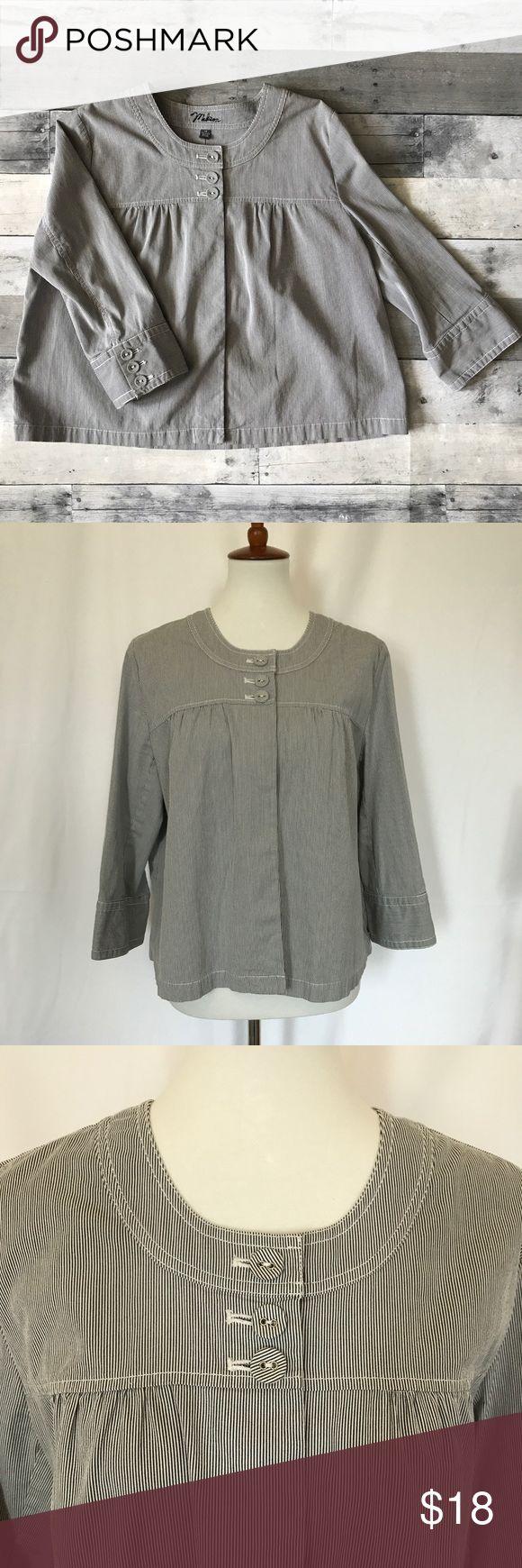 Selling this Seersucker 3/4 Sleeve Cropped Jacket, SZ 14 on Poshmark! My username is: jojoclark123. #shopmycloset #poshmark #fashion #shopping #style #forsale #Madison #Jackets & Blazers