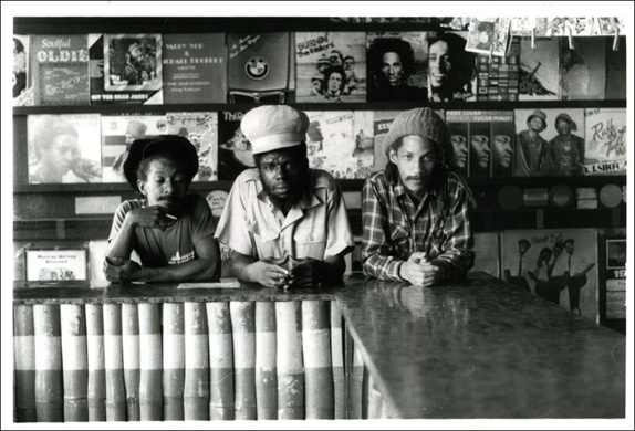 Augustus Pablo - and friends - in the Rockers International record store on Orange Street - Beth Lesser