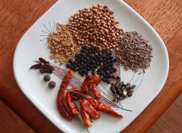Berbere (Ethiopian Spice Blend) --  •coriander seeds •1 teaspoon cumin seeds •½ teaspoon fenugreek seeds •1 teaspoon black peppercorns •2 whole allspice berries •Seeds of 4 green cardamom pods •4 cloves •5 dried red chilies,  •3 tablespoons sweet paprika  •¼ teaspoon nutmeg •½ teaspoon ginger  •¼ teaspoon cinnamon •1 teaspoon turmeric