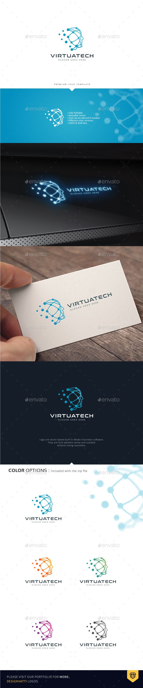 Human Head Virtual Technology Logo Template Vector EPS, AI Illustrator
