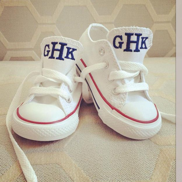 I want these for myself!!! And both boys should have a pair then take pictures of our feet! Perfect...Personalized Baby Converse Chuck Taylor - Too Cute!