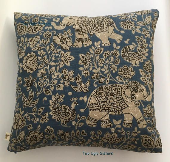 Elephant Pillow Elephant Gift Elephant Cushion Cover Blue