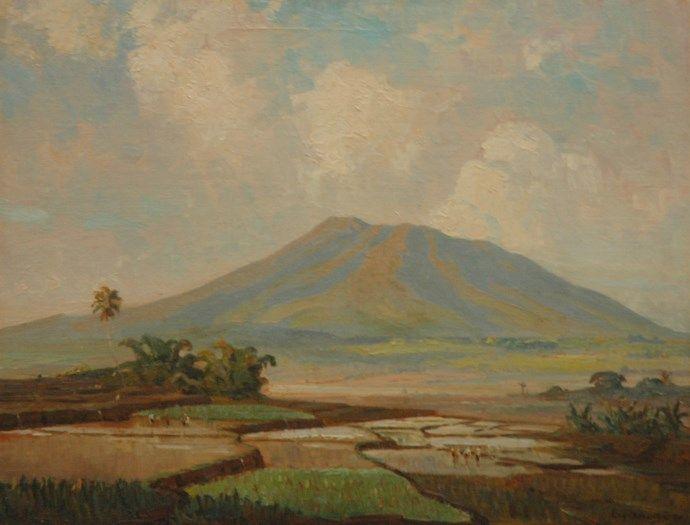Ernest Dezentjé (Jatinegara (Nederlands-Indië) 1884-1972 Jakarta (Indonesië)) Arbeiders in de rijstvelden aan de voet van een vulkaan