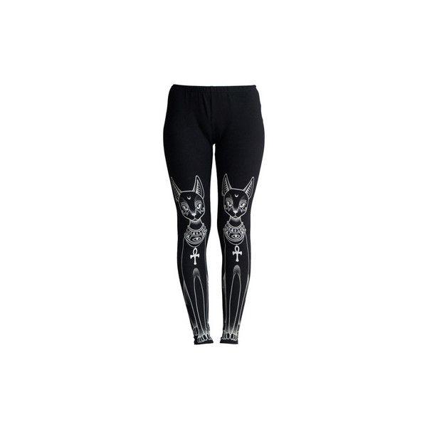 KillStar Bast legging met egyptische katten print zwart (510 ARS) ❤ liked on Polyvore featuring pants, leggings, bottoms, black print pants, print leggings, patterned pants, print pants and print trousers