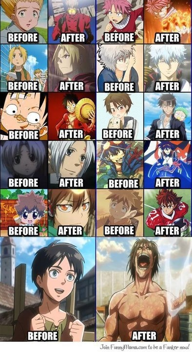 The before and after pictures of all these anime characters out of