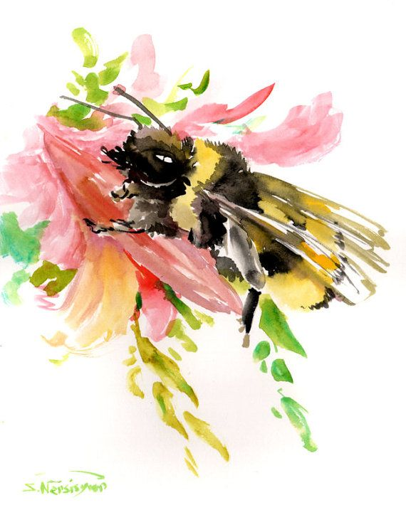 Bumblebee On Pink Flower 8 X 10 In Original By ORIGINALONLY 3800