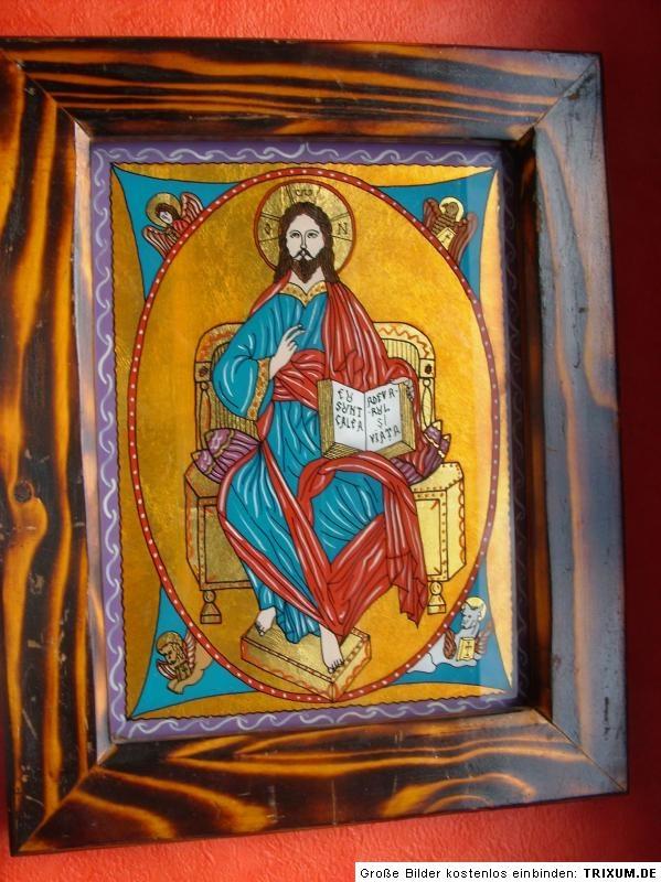Hinterglasmalerei Glasmalerei Ikone Ikona Jesus Christus Pantokrator Ikonenbild | eBay rumunia
