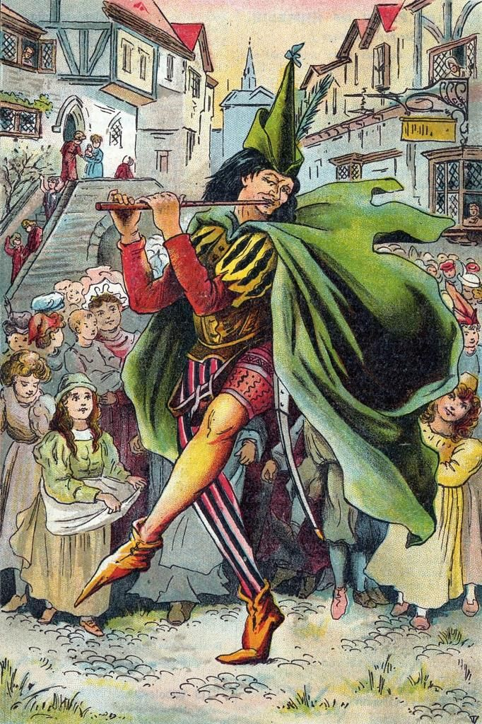 """""""The Pied Piper of Hamelin"""" Art By Warwick-Goble - A Brothers Grimm Fairytale - German"""