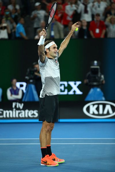 Roger Federer Photos Photos - Roger Federer of Switzerland celebrates winning championship point in his Men's Final match against Rafael Nadal of Spain on day 14 of the 2017 Australian Open at Melbourne Park on January 29, 2017 in Melbourne, Australia. - 2017 Australian Open - Day 14