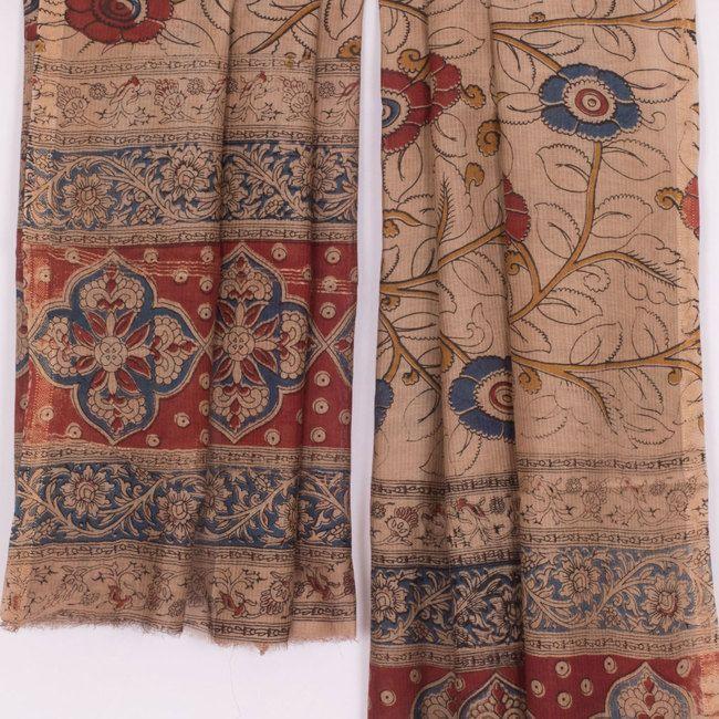 Buy online Hand Block Printed Beige Maheshwari Kalamkari Silk Dupatta With Zari Border & Floral Motifs 10012122