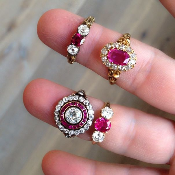19th Century Ruby Engagement Rings #vintageengagementrings #ruby