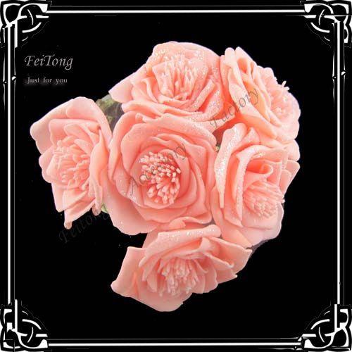 6 шт./лот Искусственный ЧП имитация имитации цветочные поддельные цветы Ручной букет розы цветы Свадебные букеты