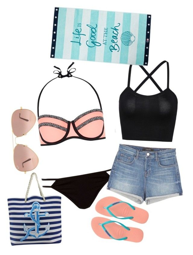 """""""I Love the Beach"""" by teamusa21 ❤ liked on Polyvore featuring New Look, River Island, J Brand, Havaianas, Ray-Ban and Lexington"""