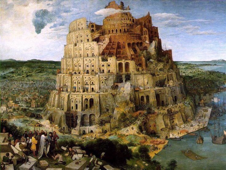 The Tower of Babel (La tour de Babel), 1563, by Pieter Bruegel l'Ancien (the Elder) (Flemish, 1525-1569), in Kunsthistorisches Museum, Vienna and Museum Boijmans Van Beuningen, Rotterdam