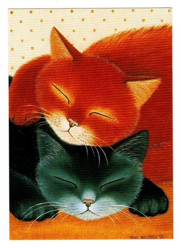 Gato+naranja+y+gato+negro.jpg (585×800)