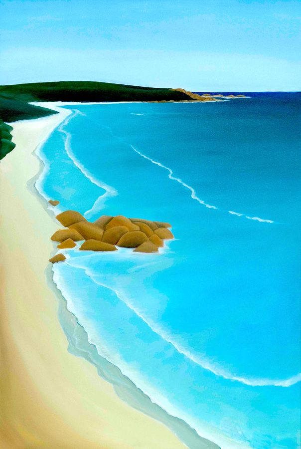 This painting of the view from Yallingup to Smiths Beach is from a mid career period of artist Mandy Evans