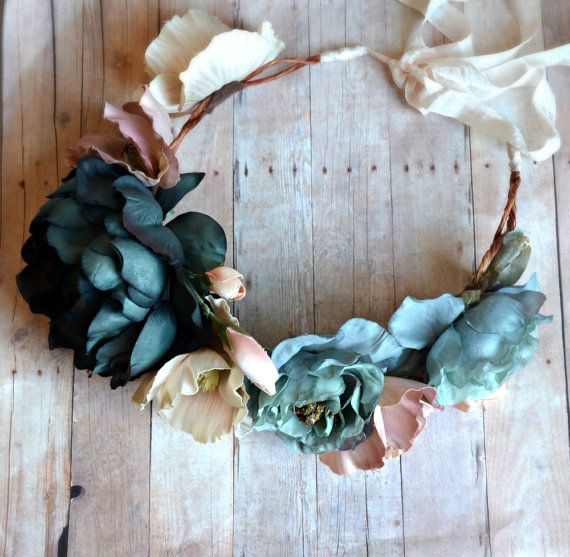 Boho flower crown woodland head piece floral by gardensofwhimsy