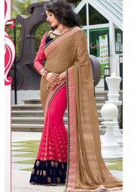 rani rose et brun clair couleur georgette saree, -  187,00 €,  #Sariindienmariage  #Sariindien2017  #Tuniqueindiennefemme  #Tenueindienne  #Shopkund