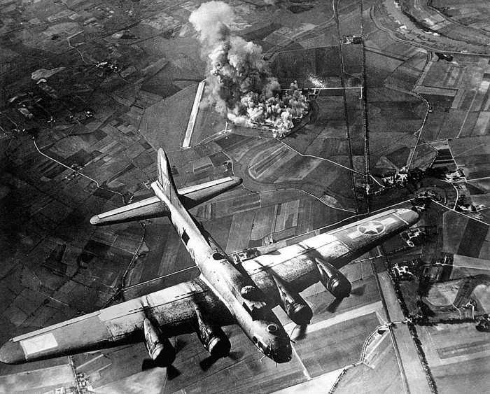 Marienburg was the target in two 8th Air Fore missions. One on October 9, 1943, by 96 B-17 Flying Fortresses and the other by 98 B-17s on April 9, 1944. On the October '43 raid 2 B-17s were lost and 13 damaged. On the April '44 raid, 6 B-17s were lost and 44 damaged. The highest, single day loss by the 8th Air Force was on the March 6, 1944 Berlin mission when 69 B-17s were shot down.