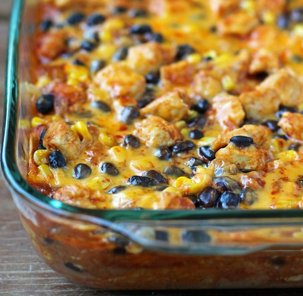 Facebook Pinterest PrintThis Layered Chicken Enchilada Bake is like a cross between flavorful enchiladas, a hearty casserole, and an artfully layered lasagna (with tortillas in place of pasta). The flavors and textures are fantastic. I love the sweet kernels of corn with the zippy enchilada sauce and between the chicken, tortillas and two kinds of beans, this casserole is super filling. Plus, it's easy to make and you don't have to roll any enchiladas – bonus! yield: 8 SERVINGS INGREDIENTS…