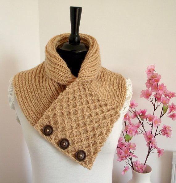 KNITTING COWL PATTERN  Honey Waffle Cowl  Scarf by LiliaCraftParty