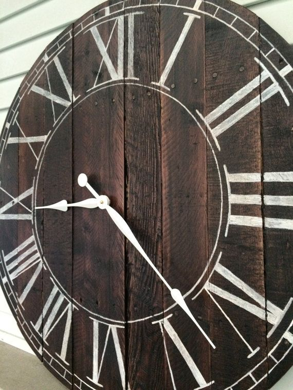 I want for above the fireplace!  Farmhouse Style Wooden Pallet Clock by FarmhouseClocks on Etsy